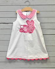 White Shift Dress with Pink Gingham Bunny Applique
