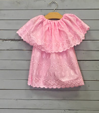 Pink Lace Priscilla with Long Ruffle