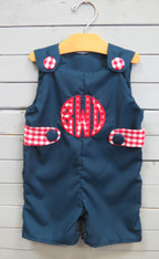 Navy Jon Jon with Red and White Gingham
