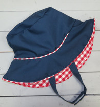 Navy Bucket Hat with Red and White Gingham