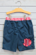 Navy Shorts with Red and White Gingham