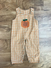 Orange Plaid Jon Jon with Monogram Pumpkin Applique