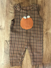 Plaid Jon Jon with Pumpkin Applique