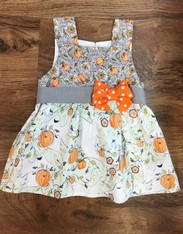 Sleeveless Pumpkin & Ghost Dress with Bow