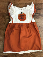 Pumpkin Applique Pinafore with Initial