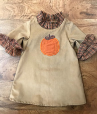 Pumpkin Applique Dress with Plaid Ruffle Sleeves