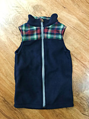 Boy's Fleece Vest with Plaid Panels