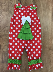 Red and White Polka Dot Christmas Tree Romper