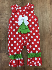 Red & White Polka Dot Christmas Tree Romper