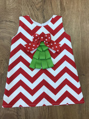 Red & White Chevron Shift Dress