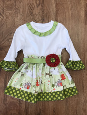 Green Christmas Scene Dress