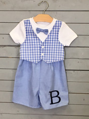Blue gingham Applique Jon Jon