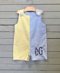 Yellow and Blue Seersucker Shortalls
