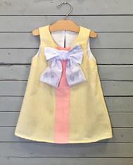 Yellow Seersucker shift dress
