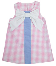pink gingham shift dress