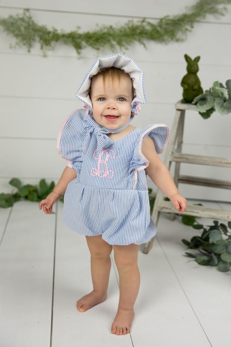 c0a0266b53f1 Blue Seersucker Bubble Romper - Caught Ya Lookin'