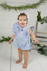 Blue Seersucker Bubble Romper