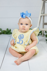 Yellow Seersucker Bubble Romper with Initial