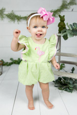 Green Flamingo Bubble Romper