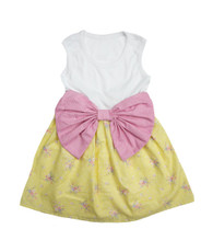 Pink and Yellow Floral Bow Dress