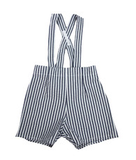 Gray and White Suspender Shorts