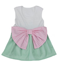 mint and pink bow dress