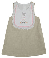 Linen Bunny Bib Shift Dress