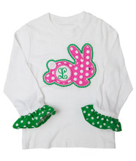 Green and pink bunny shirt