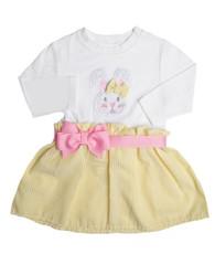 Yellow Seersucker Bunny Bow Dress