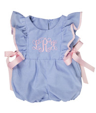 Blue oxford Romper with Pink bows
