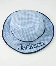 Blue Gingham Bucket hat and name