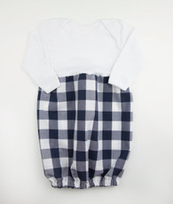 Blue and white check bunt sack