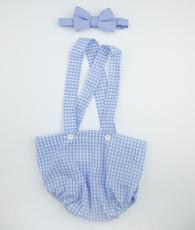 blue gignham and oxford bow tie set