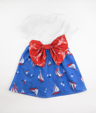 Blue and red sailboat bow dress