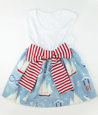 Blue and red stripe sailboat bow dress