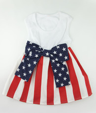 Red and white stripe star bow dress