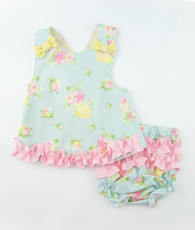 Aqua floral maggie top and bloomers