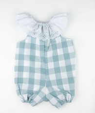Aqua and white check Elena romper