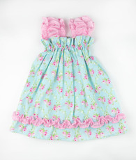 Aqua and pink floral sweetie pie dress