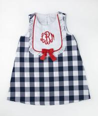 Navy and white check bib dress