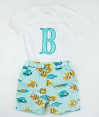Aqua fish top and shorts set