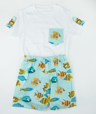 Aqua fish short/top set