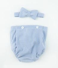 Blue gingham bowtie bloomer set