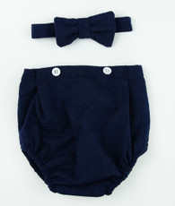 Navy button bloomers and bowtie set
