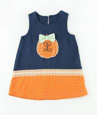 Orange and denim pumkin shift dress