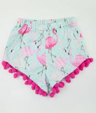 Pink and blue flamingo frindge shorts