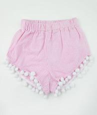 Pink seersucker frindge short