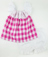 Pink and white check prissy top and long bloomers set
