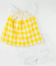 Yellow and white check prissy top and long bloomers