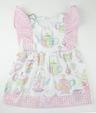 Pink and White tea cup party pinafore dress